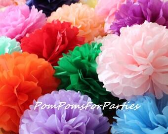 12 (3L/3M/6S) mixed size Tissue Pom poms - Hanging poms - Paper flower - Tissue paper balls - Tissue paper pom poms - Tissue flowers