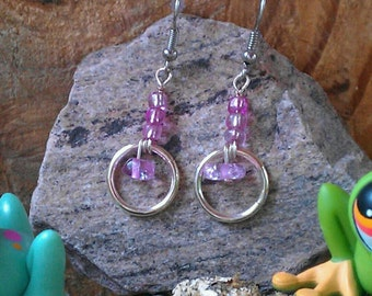 Silver Ring and Pink Glass Earrings
