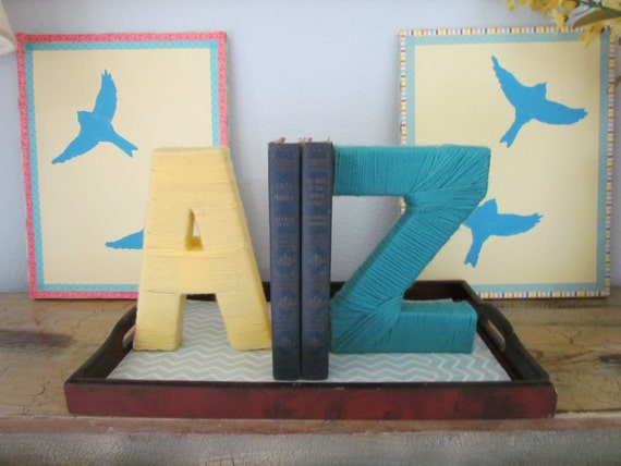 Items Similar To Yarn Letter Bookends Customizable
