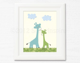 Blue and green nursery wall art, Nursery Art Print, 8x10, Baby boy room decor, Kids Room Decor, Baby / Children Wall Art - giraffe nursery,