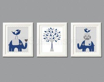 Navy and grey Nursery Art Print Set, Kids Room Decor -  Love tree, elephant nursery, love birds, owl -UNFRAMED