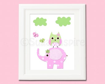 Pink and green Nursery Art Print, 8x10, Kids Room Decor, Baby / Children Wall Art, love tree, baby girl wall art