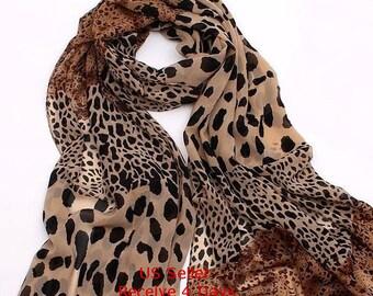Silk Scarf Leopard Print Scarf Women Fashion Scarf 1pc Free Shipping In US