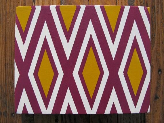 Magenta, mostaza y blanco pintura geométrica