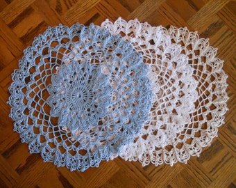Captivating .Crocheted doily.is 14 inches round in 3 colors.Dainty..