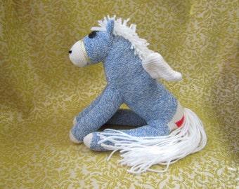 Sock Monkey Blue Pegasus Pony Horse - Stuffed Animal Toy Plush Doll Rockford Red Heel