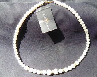 Vintage Necklace Faux Pearls   With Sales Hang Tag Jennifer Buchanan