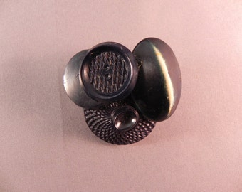 Handcrafted Button Brooch/Pin Created With Vintage Navy Blue Buttons
