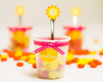You are my Sunshine tags, cups and forks (Set of 12)