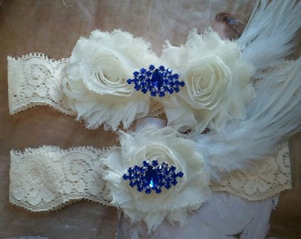 Wedding Garter and Toss Garter - Something Blue Garter Set with Rhinestone & Feather on a Ivory Lace - Style G235