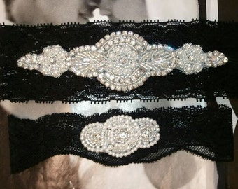 Bridal Garter, Wedding Garter and Toss Garter -Pearl & Crystal Rhinestone Black Garter Set - Style G5000-A