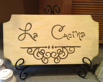 La Cucina Wood Sign, Tuscan-Style Kitchen Sign, La Cucina Kitchen Sign, Italian Sign
