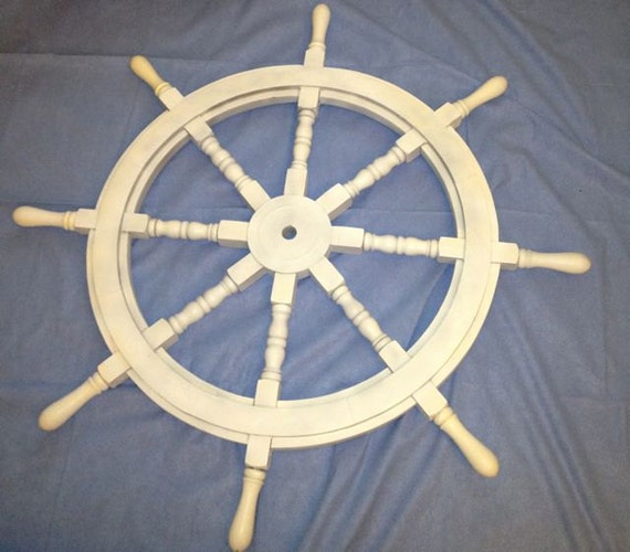 Nautical Wheel Decor: White Washed Ship Wheel 36 Wood Ship's By NauticalBeachDecor