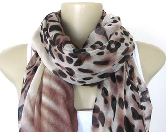Scarf - Brown and Black Animal Print Large Scarf