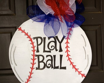 """Wooden, Hand Painted, """"Play Ball"""" Door Decoration"""