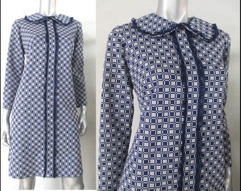 1960's Navy checked shift dress with long sleeves and round neck with oversized peter pan collar