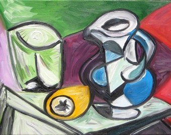 After Picasso's Still Life, Original Oil Painting