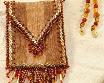 Molten Gold Amulet Bag with Necklace