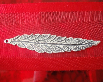 925 sterling silver oxidized large feater or leaf charm, pendant, silver feather, silver leaf,large feather pendant, large leaf pendant