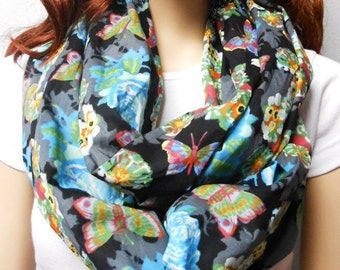 Butterflies in The Garden  Infinity Scarf