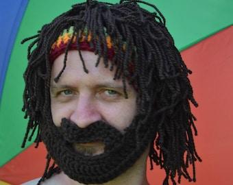 beard hat, mustache hat, rasta hat, bearded beanie, snowboarding hat, funny hat, anniversary gifts, Men's Beanie, Winter hat,