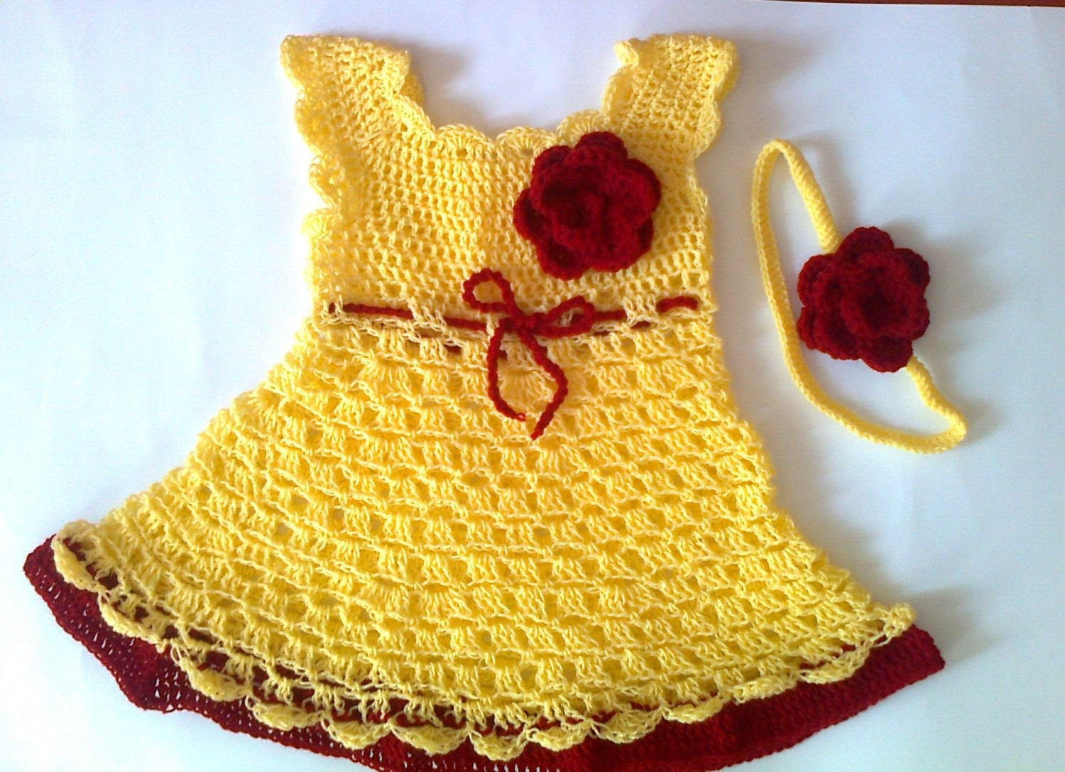 Crochet baby dress yellow baby dress baby clothes by paintcrochet
