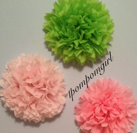 Watermelon - 3 Tissue Paper Poms// Pink and Green// Baby Shower, Birthday, Wedding Decorations, Bridal Shower, Nursery Decor