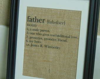 Fathers Day Gift for Husband, Gift for Him - Personalized Gift / Present for Dad - Definition of a Father