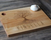 "13"" x 9.5' Custom Engraved Wood Cutting Boards - Unique Design With Tree & Name"