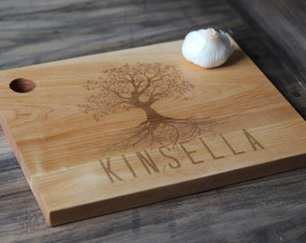 """13"""" x 9.5' Custom Engraved Wood Cutting Boards - Unique Design With Tree & Name"""