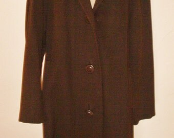 1940s chocolate wool swing coat