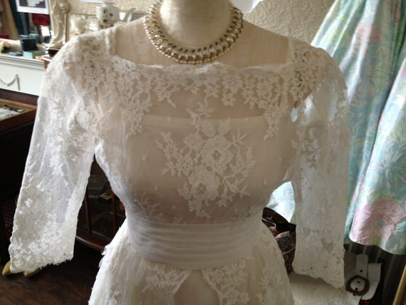 1950s true vintage white lace wedding dress size 10