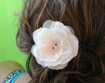"""Blush and cream colored flower hair accessory with irredescent sheer petals and swarovski crystals and pearls""""Bristol"""""""