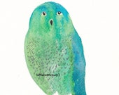 Blue Green Lovely Owl - Watercolor Painting - Art Print - Archival Art Print - littlecatdraw