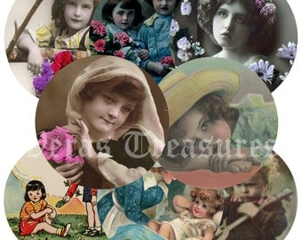 Vintage Style Children 55cm Round mirror centres or badge centres Digital Images for Crafts. Eight Circular Images