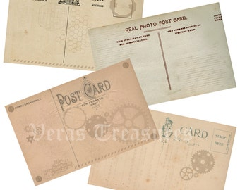 Steampunk Postcard fronts for scrapbooking,  card making or Crafts (pack 1) instant digital download