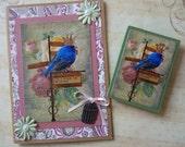Card and magnet set original collage print altered art vintage bird