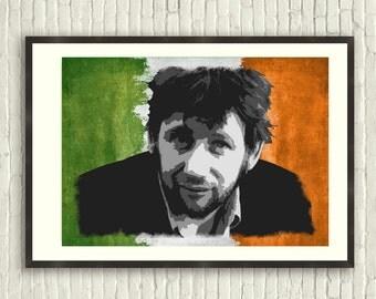 Shane MacGowan Irish Flag Artistic Print (A4 print)