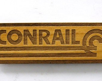 CONRAIL Railroad Logo Wooden Fridge Magnet - Black Text