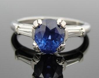 Art Deco Ceylon Sapphire Engagement Ring, Platinum, Baguette Diamond RT43DP-D