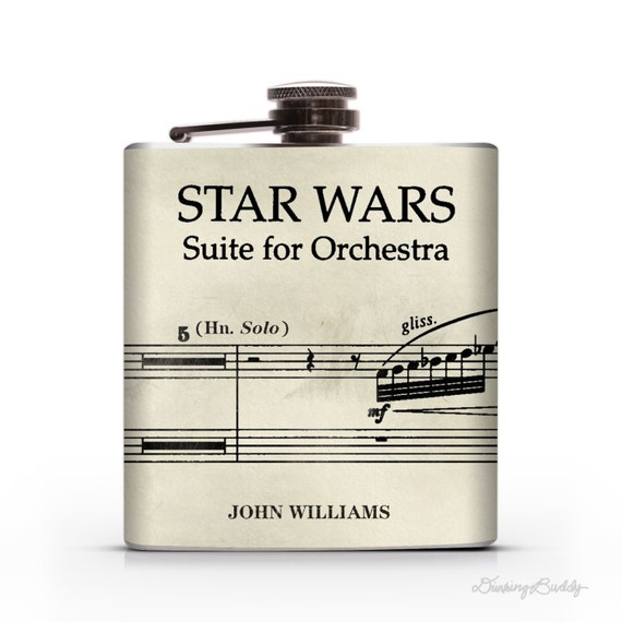 Star Wars Vintage Musical Notes John Williams  - 6oz or 8oz Hip Flask