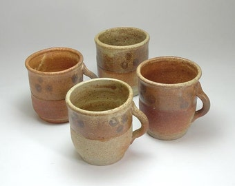 Stoneware Pottery  Mead Wine Tasting Cup Teacup Set of Four Spirits Necklace