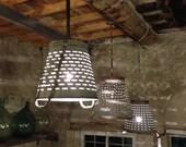 Rustic Metal Olive Bucket Basket Lamp,Hanging Lighting,Rustic Lighting,Industrial Lighting