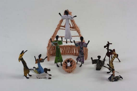 Items similar to handmade zambian nativity from recycled for Handmade things from waste material