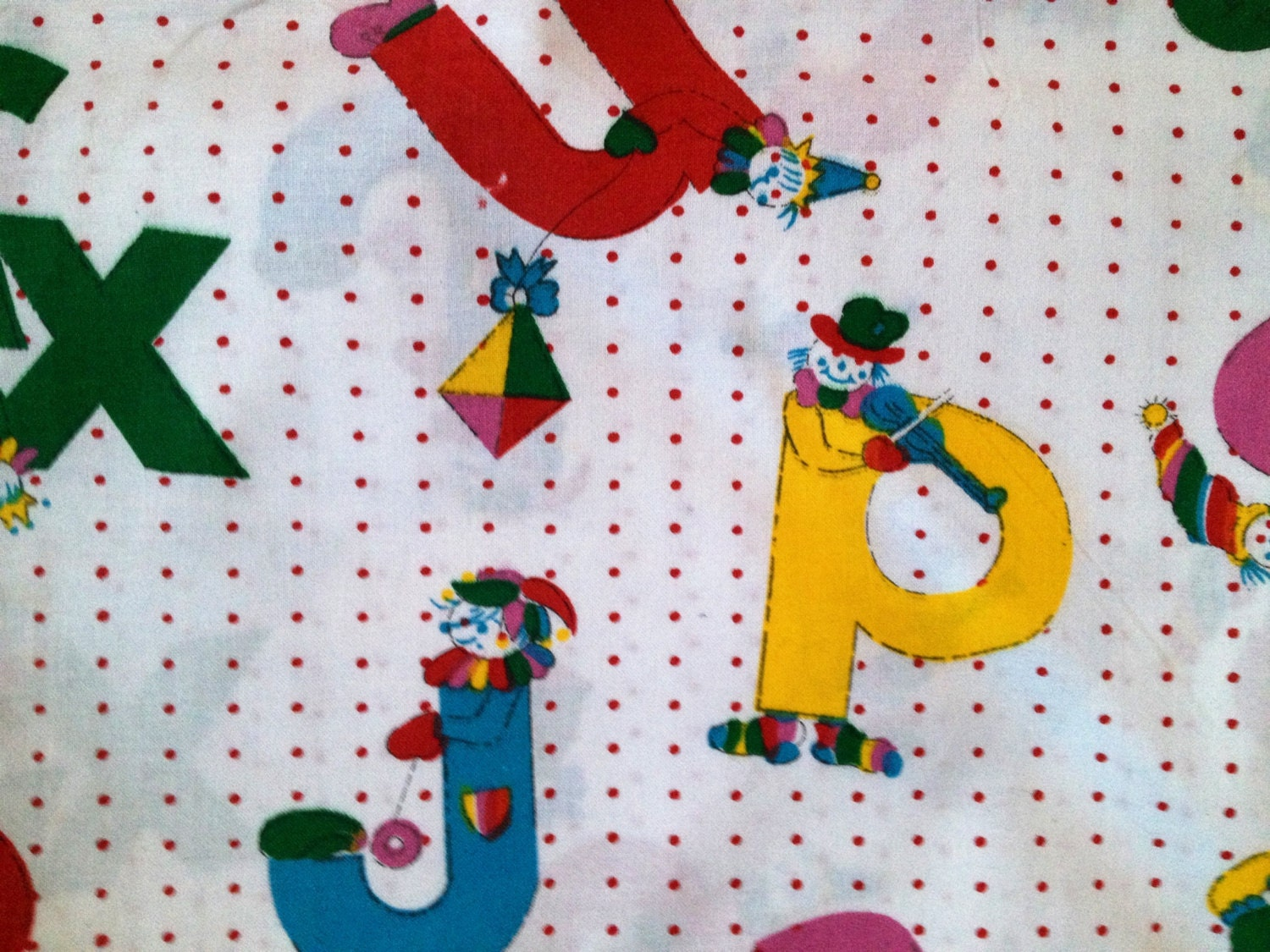 Cute and fun children 39 s fabric unused nice colours from for Cute childrens fabric
