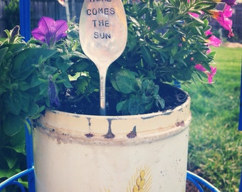 Here Comes the Sun-Vintage spoon garden marker