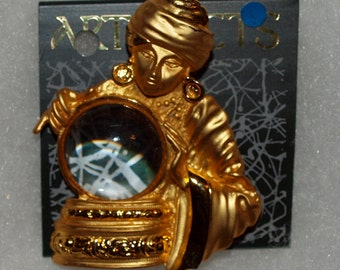 SALE Rare Fortune Teller JJ pin Gold Tone on card brooch EPSTEAM -- 0013