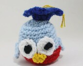 Crochet Graduation OWL - blue and red owl - toy owl