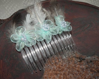SALE Pastel Delights.. light Blue Flower  Grey White Feather Haircomb Slide  WATT MILLINERY gift  hair accessory