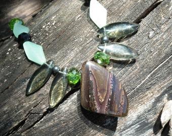 Chocolate Heaven.. SALE IS ON unique Australian Yowah Boulder Opal Necklace Natural Green Blue Matrix Swarovski  Picture Pattern  Gift